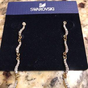 Swarovski Gold Fidelity Dangle Chain Earrings New